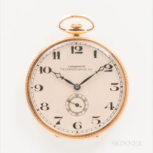18kt Gold Tavannes Watch Co. Open-face Watch