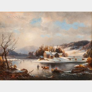 American School, 19th Century      Winter View with Figures and Oxen on the Ice