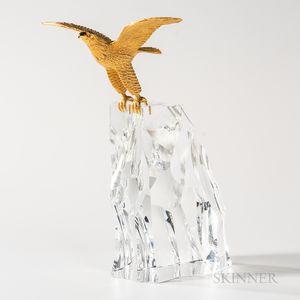 "Steuben 18kt Gold, and Glass ""Eagle"" Sculpture"