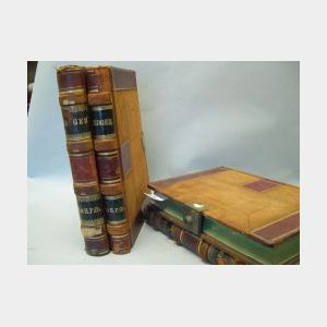 Set of Four 19th/20th Century H. & H.P. Co. Gilt Tooled Leather-Bound Locking Ledger Books.
