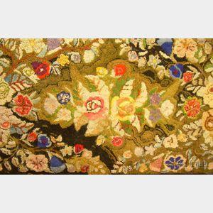 Floral Pattern Hooked Rug