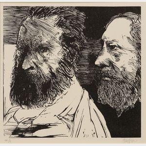 Leonard Baskin (American, 1922-2000)      Laus Pictorum: Portraits of Nineteenth Century Artists/ A Portfolio of   Twenty-Four Prints