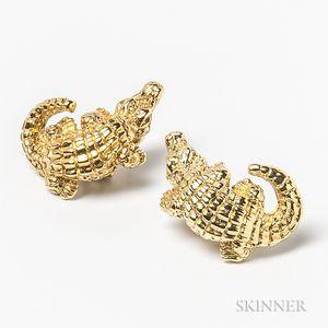 Italian 14kt Gold Alligator Earrings