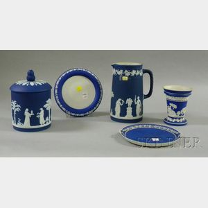 Five Wedgwood Dark Blue Jasper Dip Items