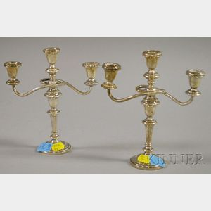 Pair of Small Three-Light Taperstick Convertible Candelabra