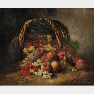 Alfred Arthur Brunel de Neuville (French, 1852-1941)      Still Life with Currants and Peaches Spilling from a Basket