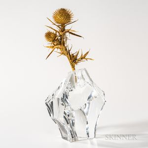 """Steuben Gold and Glass """"Thistle Rock"""" Sculpture"""