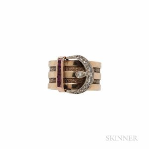 Retro 14kt Gold and Diamond Buckle Ring