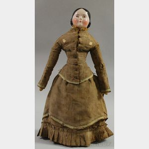 Brown-eyed China Shoulderhead Doll