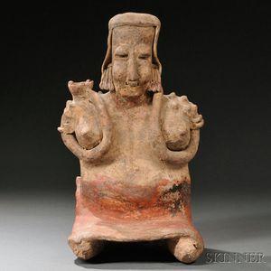 Jalisco Seated Female Pottery Figure