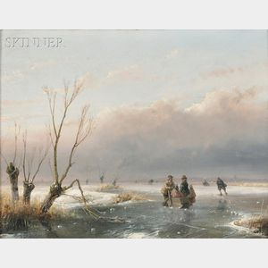 Andreas Schelfhout (Dutch, 1787-1870)      Winter Landscape with Skaters on the Ice