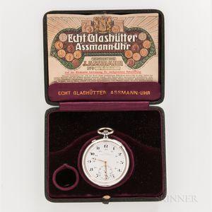 J. Assmann Silver Open-face Watch with Box