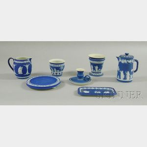 Seven Small Wedgwood Dark Blue Jasper Dip Articles
