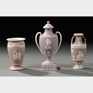 Three Wedgwood Lilac Jasper Dip Vases