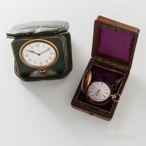Eight-day Travel Clock and a Jules Mathey Hunter-case Watch