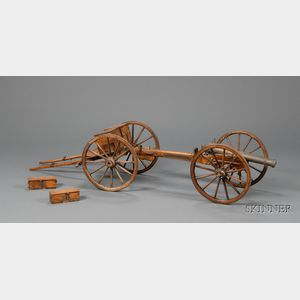 Miniature Walnut and Metal Mounted Cannon and Caisson