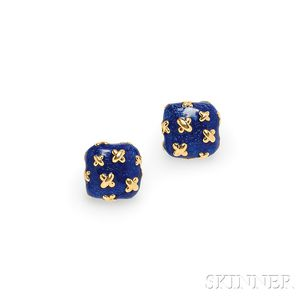 18kt Gold and Enamel Earrings, Suna Brothers