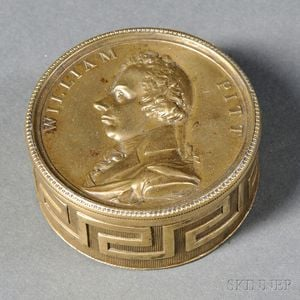 Embossed Brass Snuff Box Depicting William Pitt the Younger