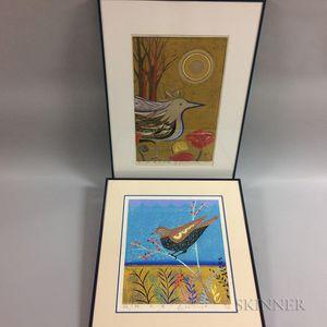 Four Yoshihara Kimura Bird Woodcuts
