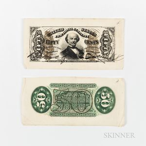 50 Cent Third Issue Wide Margin Front and Back Specimen
