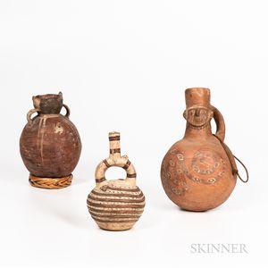Three Pre-Columbian Polychrome Pottery Spout Vessels