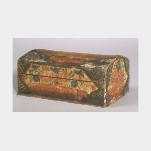 Polychrome Painted Wooden Dome-top Box