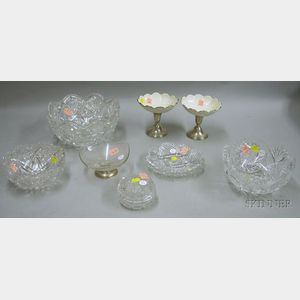 Colorless Cut Glass Box, Three Bowls, and Two Plates
