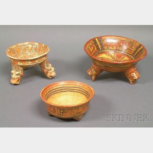 Three Pre-Columbian Polychrome Tripod Bowls