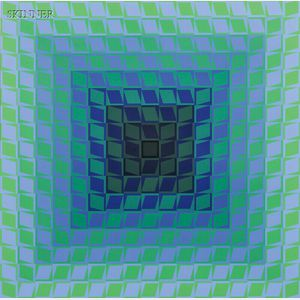 Victor Vasarely (French/Hungarian, 1906-1997)      Composition in Blue and Green