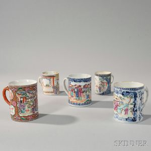 Five Polychrome Decorated Export Porcelain Mugs