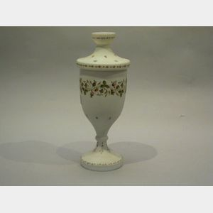 Floral Enamel Decorated Bristol Glass Potpourri Jar.