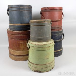 Six Graduated Painted Firkins