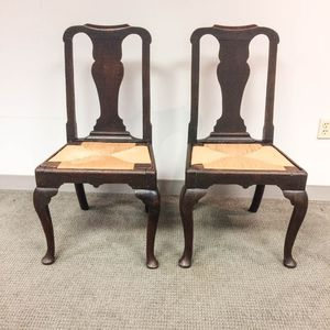 Pair of Provincial Queen Anne Oak Side Chairs