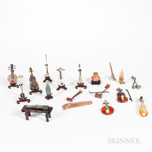 Twenty Miniature Stone Carvings of Musical Instruments