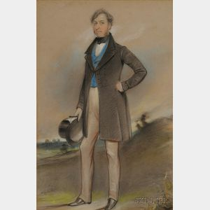 Two Portraits:      British School, 19th Century,   Portrait of a Gentleman with Top Hat Standing in a Landscape