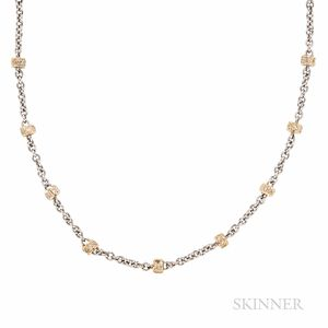 Platinum and 18kt Gold and Diamond Chain