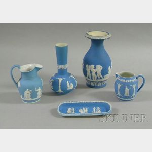 Five Wedgwood Light Blue Jasper Dip Items