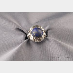 .830 Silver and Lapis Ring, Georg Jensen
