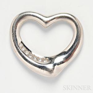 """Platinum and Diamond """"Open Heart"""" Pendant, Elsa Peretti, Tiffany & Co."""