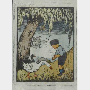 Eliza Draper Gardiner (American, 1871-1955)      Feeding the Geese.