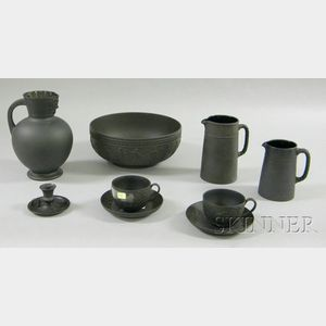 Nine Wedgwood Black Basalt Items