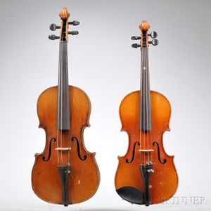 Two German Violins, One Three-quarter Size, One Five-eighth Size, c. 1920
