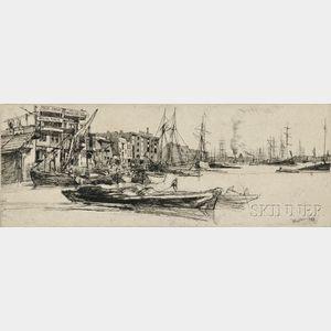 James Abbott McNeill Whistler (American, 1834-1903)      Thames Warehouses