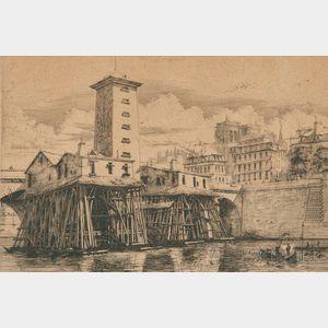 Charles Meryon (French, 1821-1868)      La Pompe de Notre-Dame