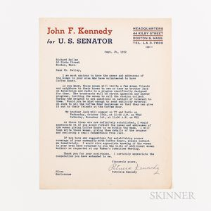 Ten Documents Related to Organizing Ladies' Teas for John F. Kennedy's 1952 Senate Campaign.