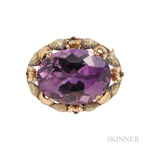 Antique Bicolor Gold and Amethyst Brooch