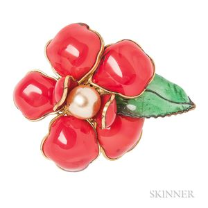 Vintage Enamel and Glass Flower Brooch Attributed to Maison Gripoix