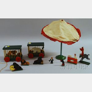 Tryon Toy Makers Painted Wooden Circus Set