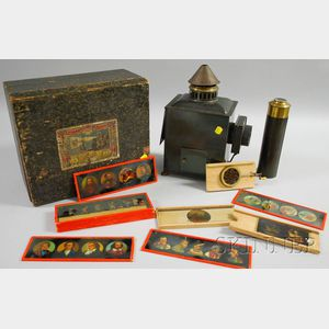 German Lantera Magica with Hand-colored Glass Slides