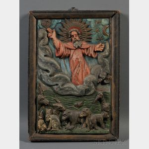 Folk Carved Polychrome Painted Religious Panel